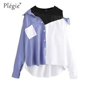 Plegie 대비 패치 워크 셔츠 블라우스 여성 비대칭 오픈 숄더 섹시한 2020 패션 스트라이프 캐주얼 딥 헴 셔츠 탑