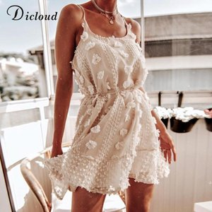 2020 new DICLOUD Sexy Spaghetti Strap Ruffles Women Summer Dress Boho Beige Backless Lined Party Beach Sundress Elegant Clothes Ladies