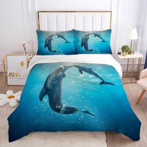 Casos edredon cobrir Set Comforther Quilt Covers Pillowcase Rei Rainha completa Twin tamanho Lençois 3D Animais Marinhos Dolphin Bedding Sets
