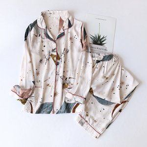 Women's Summer Two-piece Home Suit for Spring and Summer Thin Long-sleeved Viscose Cotton Pants Pajamas Women Summer Cotton Suit 200916