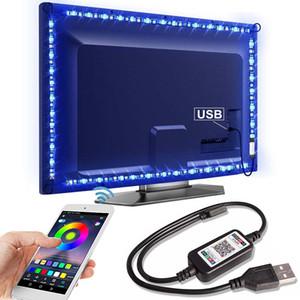 Bluetooth tira del RGB LED SMD5050 5M 1M 2M 3M 4M 0,5 M diodo cinta flexible de neón de la cinta Ledstrip tira de LED de luz de fondo USB 5V de TV
