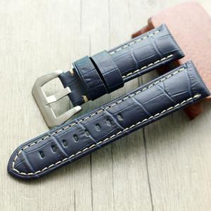 22 MM 24mm 26mm Lacivert Timsah desen hakiki deri Watchband Saat Kayışı İçin PAM 42mm 44mm 47mm Bilezik Dial