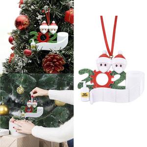2020 Новый год Санта-Клаус с маски Изображение украшения для новогодних елок смолы фенечки украшения с руки дезинфицирующими карантинных Сувениры