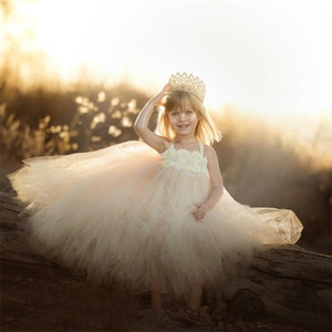 2021 Lovely Spaghetti Flower Girl Dresses Crystal Beaded Tulle Girls Pageant Gowns Custom Made Kids Birthday Party Dress