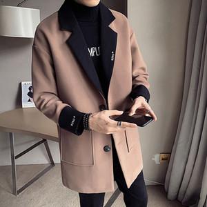 Winter Jacket Men Korean Style Mens Wool Long Trench Coat All-match Black Windbreaker Mens Wool Trench Coat Manteau Homme Long