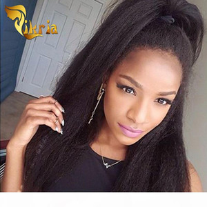 Kinky Straight Glueless Full Lace Wigs Baby Hair Human Hair Lace Front Wigs With Bangs Indian Malaysian Peruvian Virgin Hair