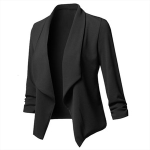 Solid Women Blazers Cardigan Coat Long Sleeve Women Blazers And Jackets Ruched Asymmetrical Casual Business Suit Outwear 2020