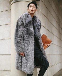 New Faux Fur Coat Imitation Fox Fur Long Coat Men 2020 Winter Fake Fur Male Warm Winter Jacket Coat Plus Size 5XL w1037