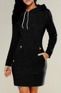 Hooded Long sleeve Hoodies Dress Vintage Casual Loose drawstring Hoodies Ladies Cotton Pockets Baggy zipper Hooded Pullover 2020