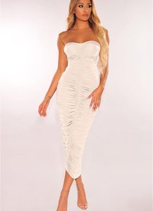 Sexy Strapless Bodycon Womens Dresses Irregular Ruched Long Dress Summer Fashion Casual Club Party Women00