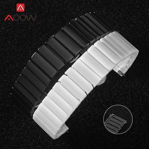 20 mm 22 mm 24 mm en céramique bande pour Samsung Galaxy S2 Montre Active2 vitesse S3 Huawei GT 2 Amazfit Boucle Papillon Bracelet Bracelet Best Watch EL9Q #