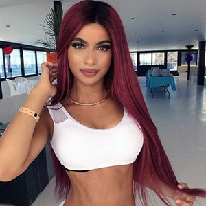 Stamped Glorious Straight Lace Wig Long Ombre Black Red Wig Middle Part Heat Resistant Fiber Synthetic Wigs For Women