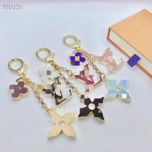 Exquisite four-leaf flower letter keychain multi pendant bag charm fashion key chain