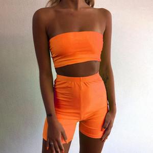 Sleeveless Casual Apparel 2 Pcs Tube Top Women Designer 2Pcs Short Sets Crew Neck Tight Sexy Jumpsuit Fashion