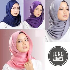 Sciarpa di seta donne Plain raso Hijab Wrap di colore solido Scialli fascia musulmano Hijabs Sciarpe / sciarpa 30 colori