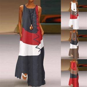 Cotton linen Plus size Vintage patchwork Women casual loose maxi long summer dress elegant clothes 2020 ladies dresses sundress0921
