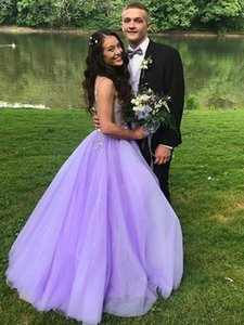 Lavender Prom Dresses Long Deep V Neck Backless Floor Length A Line Appliques Beads Formal Women Evening Party Gowns