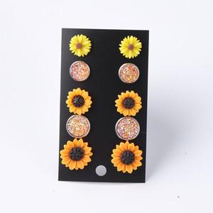 Sistema de girasol Conjunto Druzy Druzy Sets Bright Sunflower Resina Flor Gypsophila Pendientes de Gypsophila para mujeres Joyería de niña linda 5 pares / set
