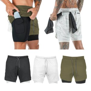 2-in-1 Men Hiking Fitness Shorts Compression Shorts Pants Bottoms Base Layer for Workout Running Jogging Boxing Apparel