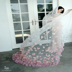 Real Image Newest Wedding Veils Pink Flower Long Veils Lace Applique Crystals Two Layers Cathedral Length Cheap Bridal Veil Best Selling