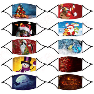Noël Fashion Masque anti-poussière Respirant Bonhomme de neige d'hiver Impression Masque réglable Réutilisable Masques de Noël Visage HHF1515