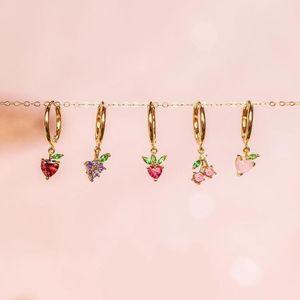 Delicious fruit design cute lovely girl women fashion jewelry sweet apple cherry grape strawberry fruit charm hoop earring