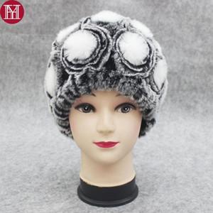 2020 Хорошо Упругие Вязаная Rex Fur Шапочки Новый женский зимний цветок Real Rex Fur Hat 100% Real Cap