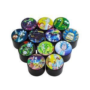 Çerezler Karikatür Siyah Öğütücü 40mm Tütün Dilimleme 4 Katmanlar Herb Crusher Renkli Çinko Alaşım Öğütücü Eller Duman Aksesuarları