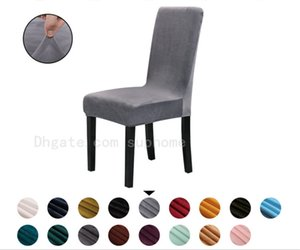 JH Home Hotel Restaurant Suede Fabric Upholstery Elastic Chair Sets Winter High Quality Seat Cover General Pure Color Soft Chair Covers
