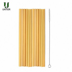 UNTIOR / Bamboo palha reutilizável Straw portátil Natural Bamboo Palhinhas Bar Party For Acessórios Atacado P0Ub #