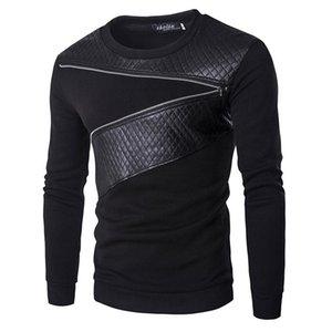 Wholesale -Leather Patchwork Hoodies Mens Ublique Zipper Decoration Sweatshirt Mens Casual Slim Coat Fashion Men &#039 ;S Clothes Hoodies