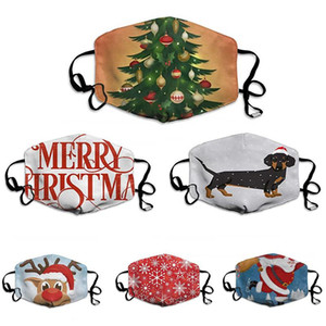 Christmas Reusable Women Men 3d Fun Protective Mouth Face Mask Mark Fabric Facemask Washable Party Magic DHC1310