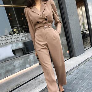 Zarif 2 adet Seti Tam Kol Kısa Blzer Uzun Kuşaklı Pantolon Şık Kadınlar Pantolon Suit 2020 Büro Bayanlar Blazer Suit