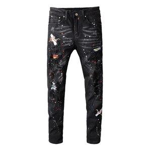Erkek Kot Siyah Işlemeli Boyalı Yırtık Streetwear Delikleri Streç Kot Pantolon Skinny Kalem Pantolon Adam