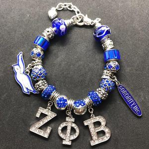 Fashion DIY crystal big hole beads ZPB bangle Greek letter society ZETA PHI BETA sorority jewelry bracelet
