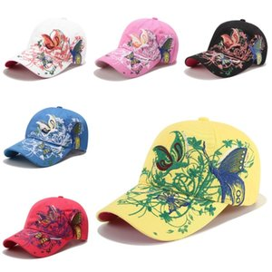 NEW 60PCS Sequined Baseball Cap flower butterfly embroidered duck tongue hat adjustable button up women's butterfly hat party hat T500215