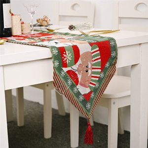 180 * 35cm di natale Runner Cotone e Lino Tovaglia Christmas Table Flag Christmas Party Table tavolino della decorazione Forniture Nuovo D9807