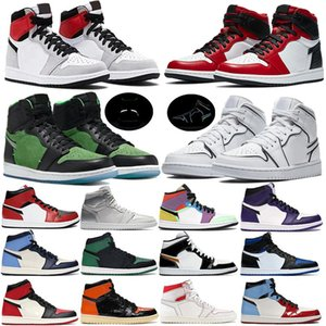 1s Hommes Chaussures De Basket-ball Or Noir Toe Top 3 Mid Bred Multi Designer Chaussures 1 PSG Banni Pin Vert Sport Sneakers