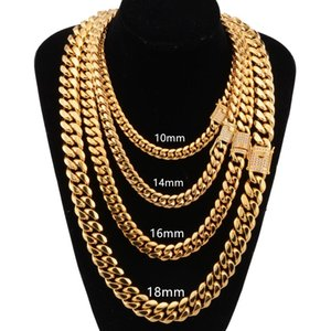 8mm 10mm 12mm 14mm 16mm Miami Cuban Link Chains Stainless Steel Necklaces CZ Zircon Box Lock Gold Chains for Men Hip Hop jewelry