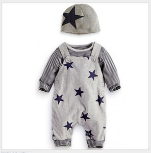 Baby Boys Autumn Clothing Sets Infant Long Sleeve Striped T-shirt+Stars Printing Suspender Rompers Pants+Hats Toddler Suit LY095