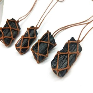 Women Natural black stone pendant Faux Tourmaline Stone Woven Rope Pendant Necklace Positive Energy Jewelry party Accessory