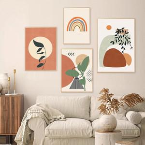Modern Soyut Boho Stili Yapraklar Geometrik Tuval Boyama Poster Baskı Duvar Sanatı Resim Yatak Odası İç Ev Dekorasyonu YOK ÇERÇEVE