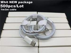 DHL 500pcs / lot 1 m / 3 pies 2 m / 6 pies de cable para i7 8 x calidad OEM USB teléfono de sincronización de datos cable de carga con el empaquetado al por menor