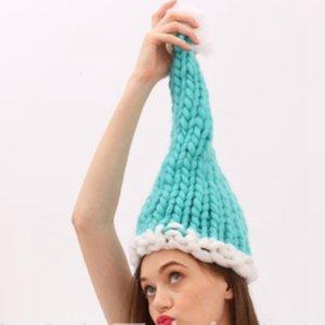 Cappello di Natale Babbo Natale Cappelli Bambini Bambini Adulto Soft Woolen Knitting Cappelli con palla 4 colori Decorazione di Natale Regali DBC BH4027