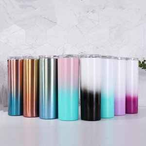 Gradient 20oz Skinny Tumbler Stainless Steel Water Bottle Vacuum Insulated Tumblers Coffee Mugs Portable Drinkware Sea Shipping GWC2327