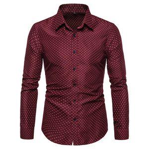 Vestir de hombre camisas del diseñador del lunar de manga larga flaco mezcla de algodón camisetas de la solapa de la manera del cuello delgado Homme Tops