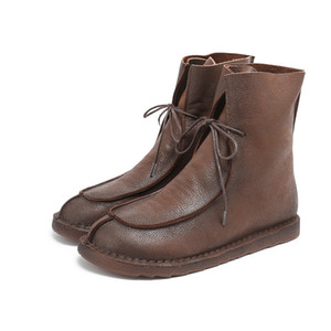 558-12 New Autumn and Winter Genuine Leather Shoes Retro Handicraft Cotton and Belt Desert Travel Kraft Boots