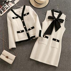 Vintage Tweed Two Piece Set Outfits Donne Giacca Cappotto + Mini abito senza maniche Abiti eleganti Signore Autunno Autunno Inverno 2 Pz Set 2020