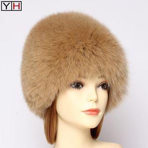 Россия Lady 100% Natural Real Fur Hat Мода Пушистой Теплый Подлинного меха зима шлем Womne Real Silver Bomber Caps