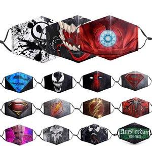 маска для лица маски для лица дизайнера Iron Герои Клоун Человек-паук 3D печать Маски для лица против пыли Открытого Солнцезащитного Anti-Haze Mask